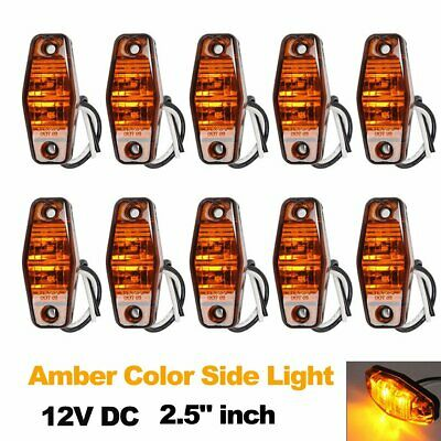 "10X 12V 2.5"" LED Light Amber Universal Mount Surface Clearance Side Marker Lamp"