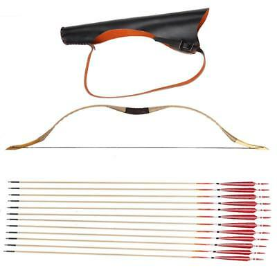 Archery Set Pigskin Longbow Recurve Bow Quiver + 12 Wood arrow Hunting Arrow Set
