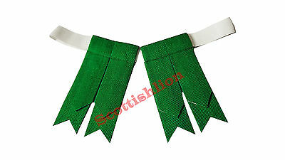 SL Men's Kilt Sock Flashes Plain Green/Scottish Kilt Hose Sock Flashes Green,L