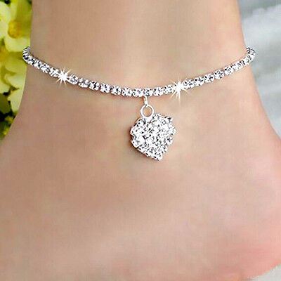 Diamante Simple Love 925 Sterling Silver Anklet Foot Chain Ankle Bracelet Charm-