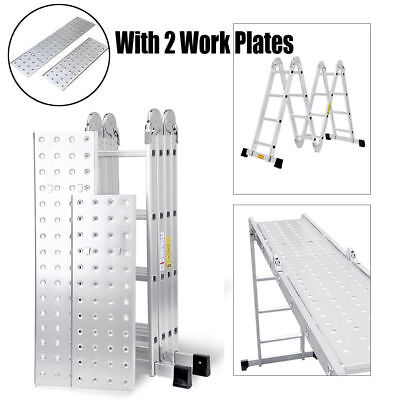 Keraiz® 4.75M Aluminium Foldable Extension Multipurpose Ladder + platform EN131