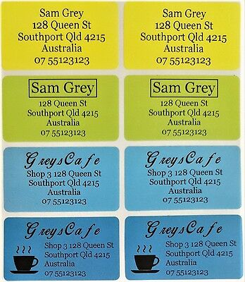 8 Colour Rainbow Personalised Name / Address Label Stickers- XL (45*25mm) Dishwa