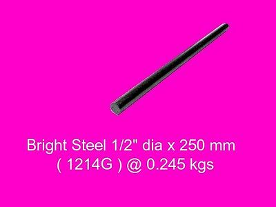 "Bright Steel Round 1/2"" dia x 250 mm ( 1214FM )-Lengths-Lathe-Mill-Steam"