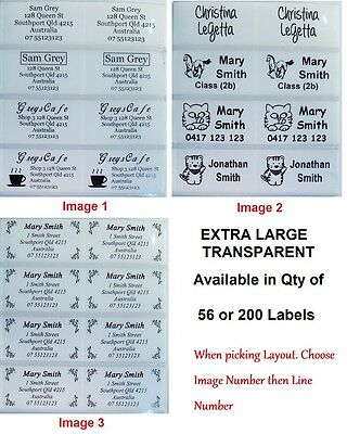 Transparent Personalised Name/ Address Label - XL (45*25mm) Dishwasher Safe