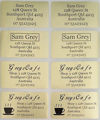 Gold Personalised Name / Address Label Stickers- XL (45*25mm) Dishwasher Safe