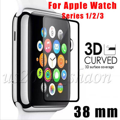 Full Cover 3D Tempered Glass Screen Protector For Apple Watch 2 38mm Black