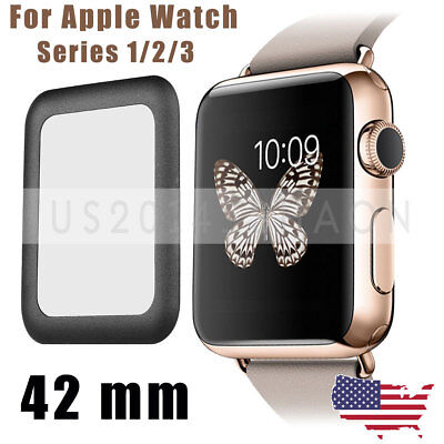 3D Full Cover Screen Protector 9H Tempered Glass For Apple Watch 42mm Black