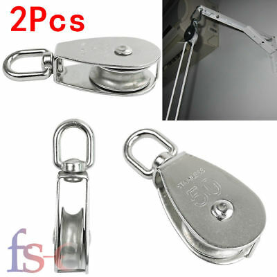 2X Heavy Duty Stainless Steel Single Wheel Swivel Lifting Rope Pulley Block M50