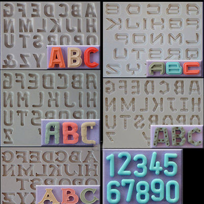 DIY English Letter And Number Silicone Mould Fondant Alphabet Cake Mold Tool.