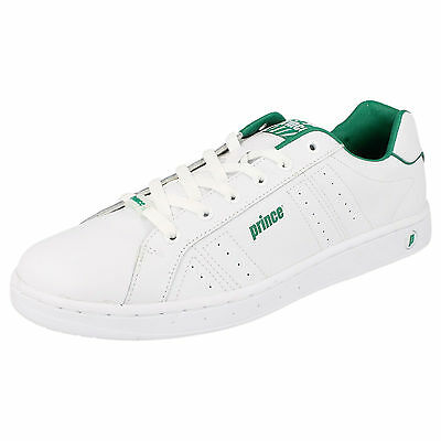 Prince Classic Men's White/Green Lace Up Casual Trainers (R34A)(Kett)