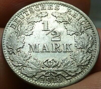 1918 -J German Empire: 1/2 Mark Silver coin : Better Date VF frankyd360 #ch648d