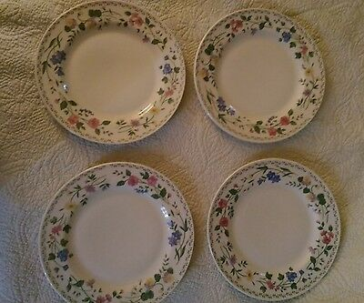"4 - 10 1/2"" Dinner Plates Farberware Stoneware English Garden #225"