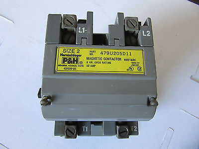 P & H 479U205D11 Size 2 Contactor 120/240V Coil VGC!!! Free Shipping