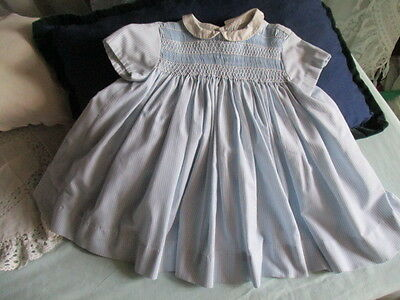 Vintage French Smocked Baby Dress. c1950 Blue
