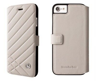 Genuine Mercedes-Benz Pattern II Grey Leather Book Case for iPhone 8 & iPhone 7