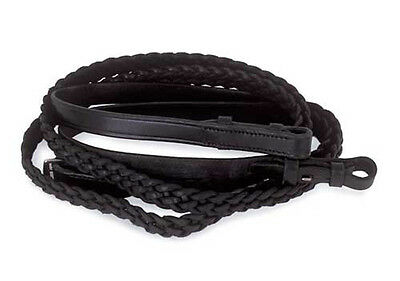Windsor Equestrian Leather Plaited Reins - Blackfull Size