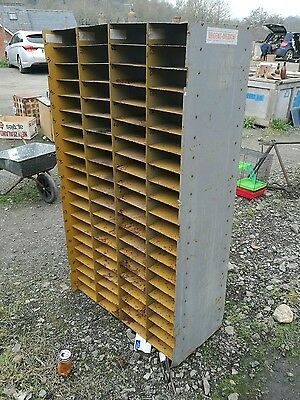 Vintage Industrial Pigeon hole unit yellow medical office