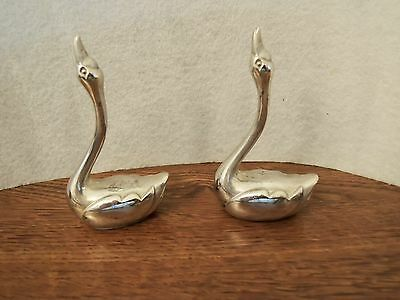 Silver Plate Swan Figurine Decorative Lake Theme Ring Holder, Marked