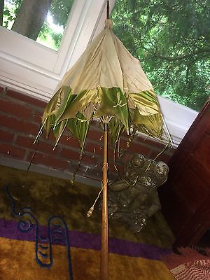 Vintage Silk? Parasol Umbrella Embroidered Carved Wooden Handle Shabby Chic