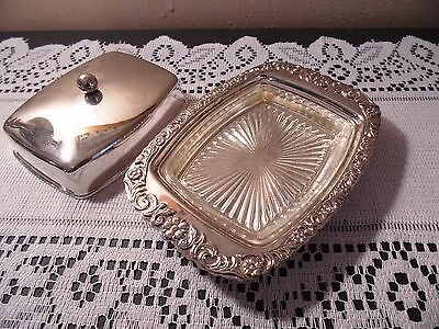 Vintage Square Silver Butter Dish Glass Insert Hollywood Regency Mid Century
