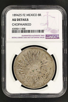 1894ZS FZ Mexico Silver 8 Reales NGC AU Details Chopmarked -150268