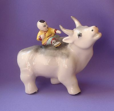 Antique Mongolian Porcelain Figurine  Vintage Statue Buddha  Boy on Bull