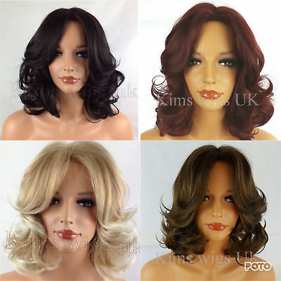 Short Curly Wig Black/dark Brown, Red, Blonde Medium Brown Ladies Womens Uk