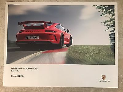 """2017 Porsche 911 GT3 """"Green Hell"""" Showroom Advertising Sales Poster RARE Awesome"""