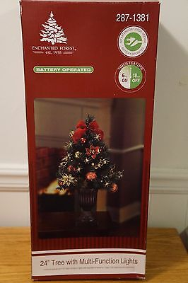 Enchanted Forest Battery Operated Decorated 24'' Christmas Tree MultiFunc Lights