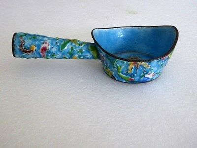 Antique Chinese export Canton enamel cloisonne brush washer w fish
