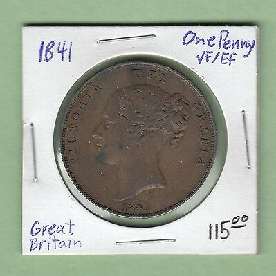 1841 Great Britain One Penny Coin - Queen Victoria - VF/EF