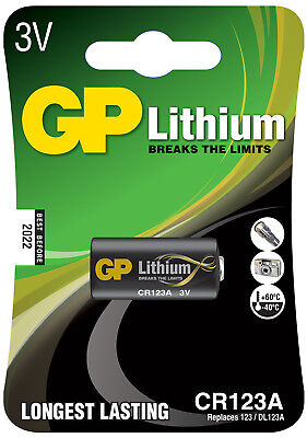 GPBATTERY Lithium photo cell, CR123A, 3V, packed 1 per blister - 16.8 x 34.5mm N