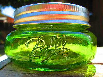 BALL SQUATTY HALF PINT MASON JAR Wide Mouth COLORED STAINED  Antifreeze Green