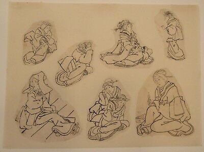 c.1850 7 original Japanese ink drawings sketches studies of Geishas 10x13.5""
