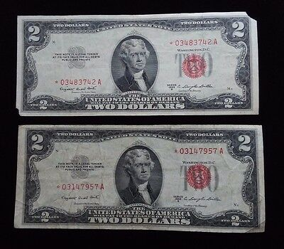1953 B $2 Red Star Bills, two star notes