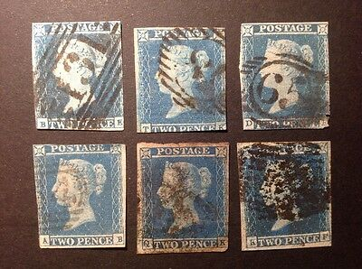 GB 1841 2d blue imperf, x6