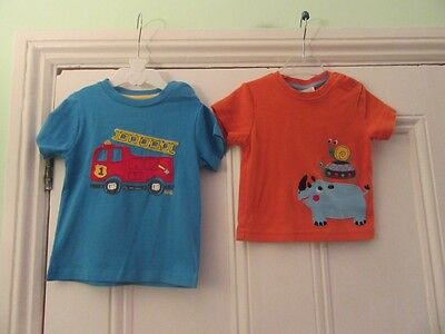 6-9m 2 organic cotton t-shirts: Blue + fire engine/ Orange + animals :Frugi/Kite