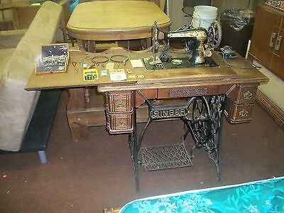 antique 1904 model 27 Singer Treadle & Electric sewing machine serial  B-338-742