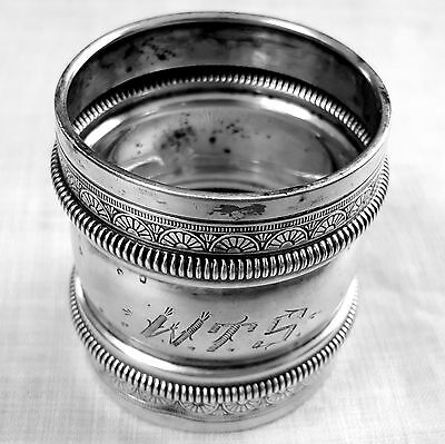 Gorham double waisted napkin ring 1882 engraved sterling silver mono WTS
