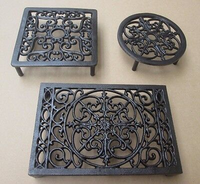Cast Iron Trivet Hot Plate Stand Holder Kitchen Worktop Protector Rustic Vintage