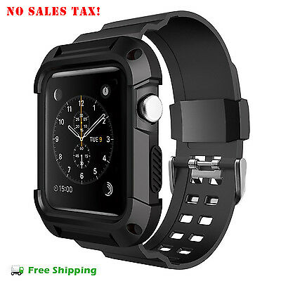 Apple Watch Protective Case 42 mm Simpeak Rugged iWatch Bumper Strap Band Black