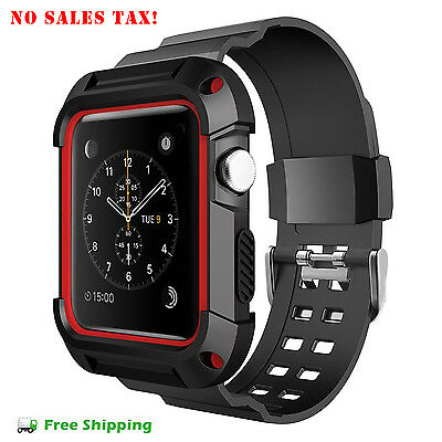 Apple Watch Protective Case 42 mm Simpeak Rugged iWatch Bumper Strap Band Red