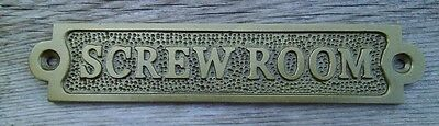 Antiqued Brass SCREW ROOM Sign Plaque Nautical Ship Boat Decor NEW