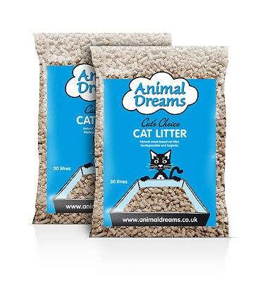 ANIMAL DREAMS WOOD BASED CAT LITTER x TWO 30 LITRE BAGS.