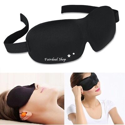 3D Eye Sleep mask black soft padded Blindfold + FREE Ear Plug Set