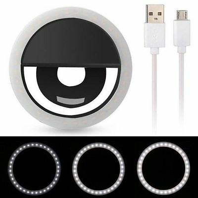 Rechargeable Portable 32 LED Selfie Ring Flash Light for Universal - Black
