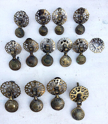 Lot of 13 Antique Brass Drop Pull Handles & extra Backplate. English?