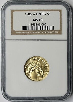 1986-W Statue of Liberty Modern Gold Commemorative $5 MS 70 NGC