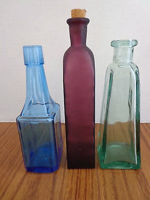 Lot of 3 Vintage Bottles ~ Bitters Blue, Pale Green heavy, and Purple Satiny VGC