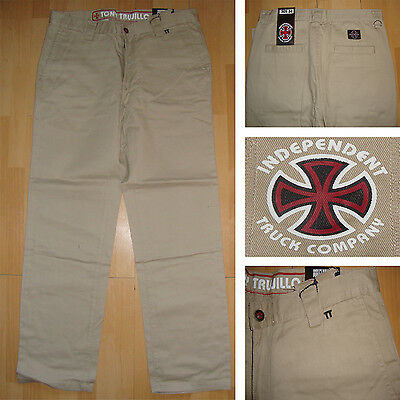 """INDEPENDENT - Tony Trujillo Trousers - Waist 34"""" - Skateboard Trousers Pale Sand"""